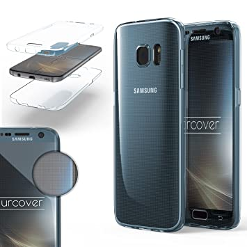 Urcover® Funda Compatible con Samsung Galaxy S7, Carcasa Protectora 360 Grados Silicona Gel en Transparente Full Body Protección Completa ...