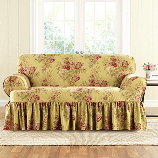 NEW Sure Fit Navy blue T-cushion Stretch Pique Loveseat sure fit slipcover