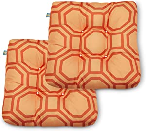 Duck Covers Water-Resistant 19 x 19 x 5 Inch Indoor Outdoor Seat Cushions, Orange Sherbet Hexagon, 2-Pack