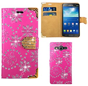 Samsung Galaxy Grand 2 G7102 Case, FoneExpert® Bling Luxury Diamond Premium Leather Kickstand Flip Wallet Bag Case Cover For Samsung Galaxy Grand 2 G7102