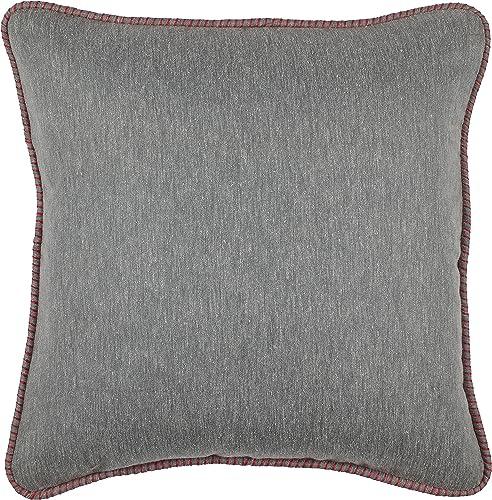 Amazon Brand Stone Beam Whipstitch Edge Decorative Throw Pillow, 18 x 18 , Dark Grey with Red Whipstitch