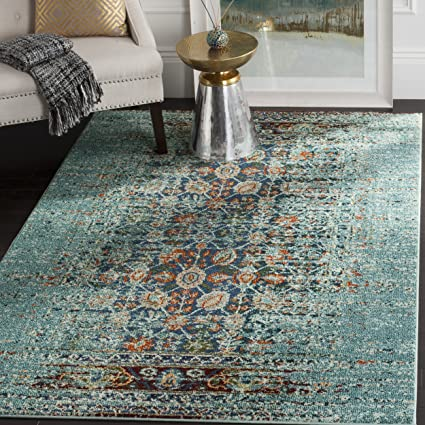 Safavieh Monaco Collection MNC208J Modern Abstract Erased Weave Blue and Multi Distressed Area Rug (8 x 11)