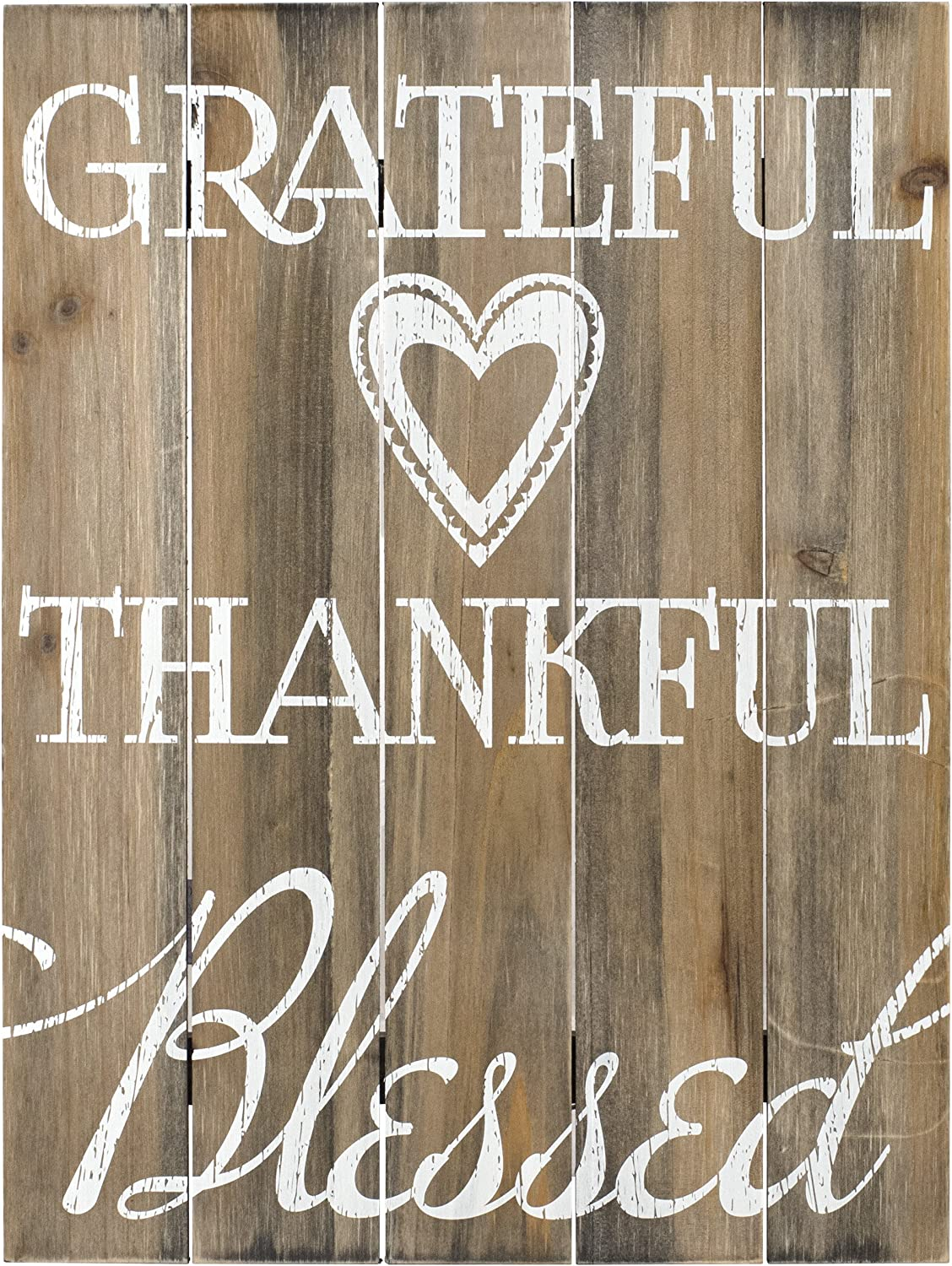 Malden International Designs Rustic Wall Sign Grateful, Thankful, Blessed Silkscreened Pallet Wood Sign, 12x16, Barnwood