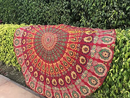 raajsee Tela Redonda de Mandala, Estilo Hippie,diseño Bohemio de Pavo Real, de algodón, Ideal como Colcha, Tapiz Decorativo, Mantel o Toalla de Playa, algodón, Rojo, 70 Inch: Amazon.es: Hogar