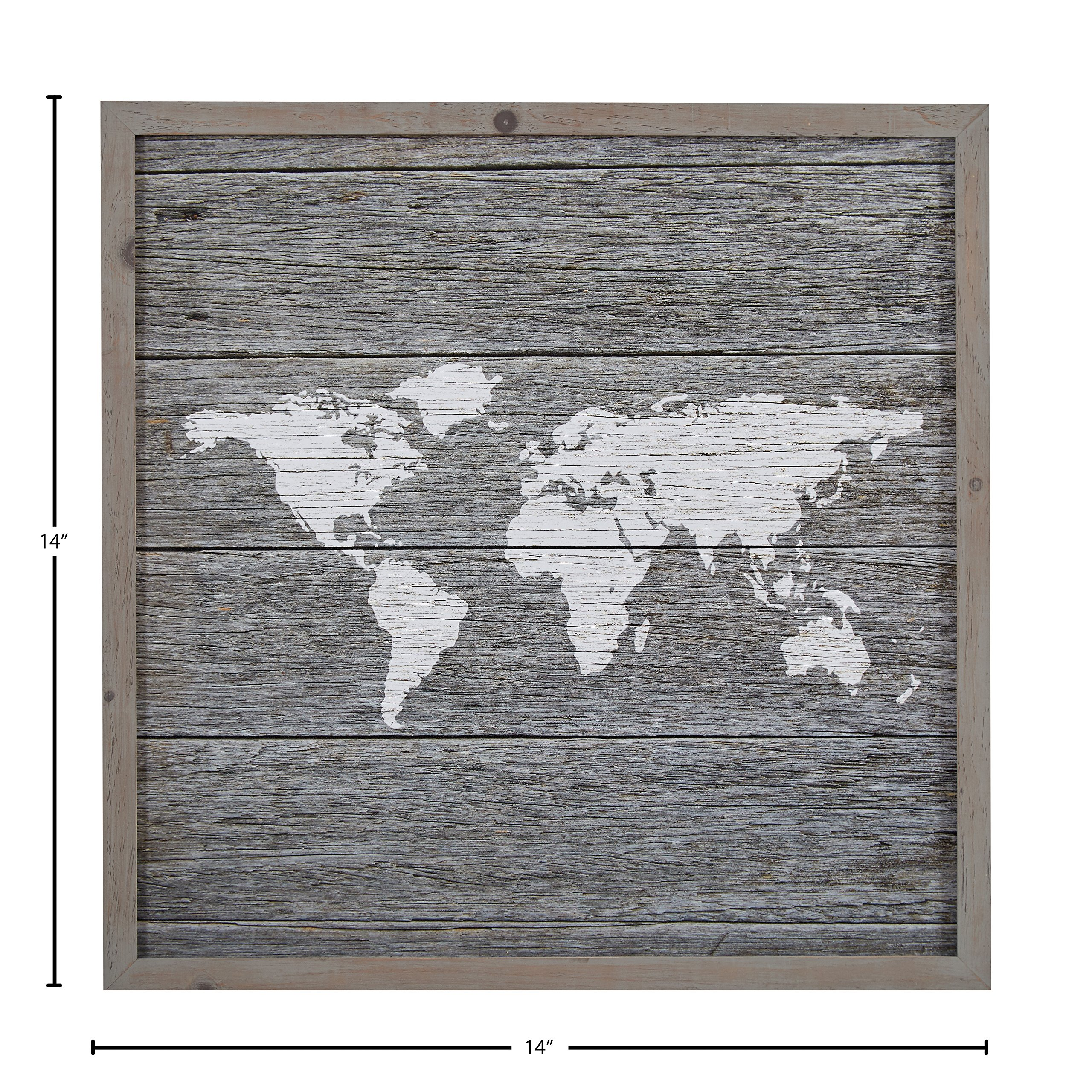 Global Map, Paper on Wood, Grey Wood Frame, 14'' x 14'' by Stone & Beam (Image #4)