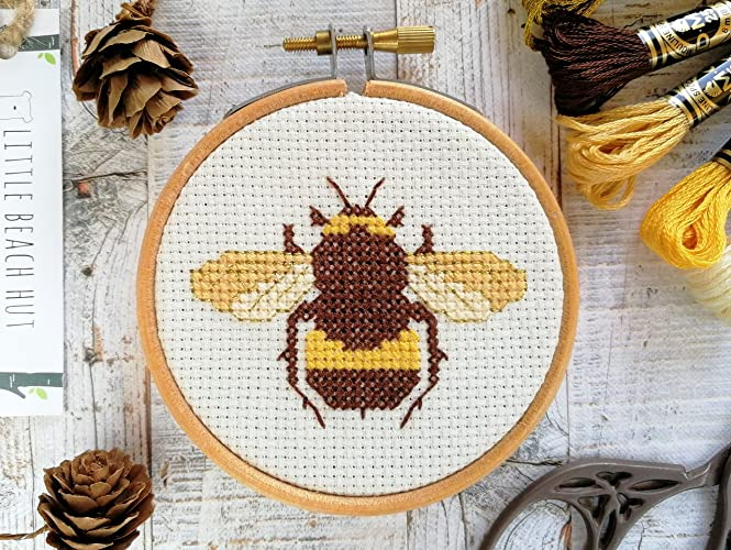 Bee Cross Stitch Kit Honeybee Insect Gift Embroidery Pattern