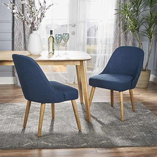 Christopher Knight Home Trestin Mid Century Fabric Dining Chair Set of 2 , Navy Blue and Natural