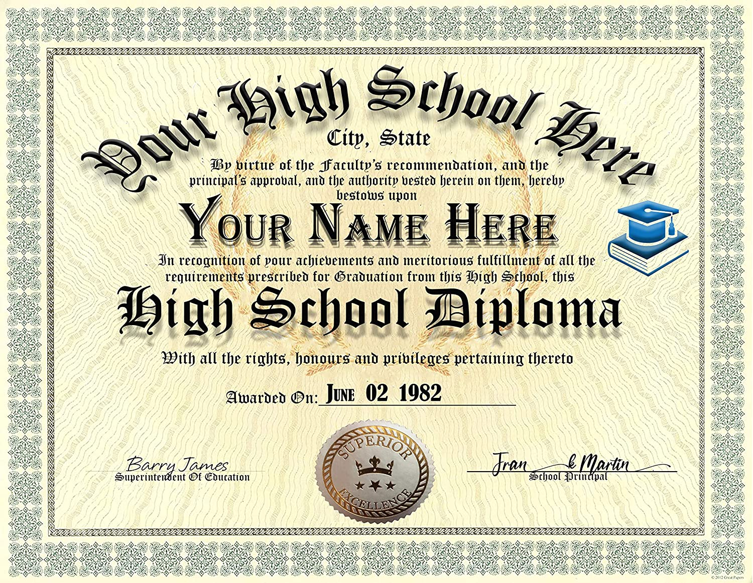 High School Novelty Diploma Personalized Custom Printed with Your personal Info PLUS Navy Blue gold embossed quality Certificate Cover - Premium Quality - 8.5