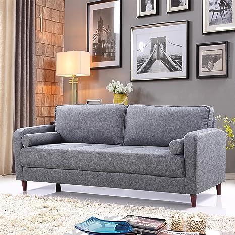 Mid Century Modern Linen Fabric Living Room Sofa Light Grey