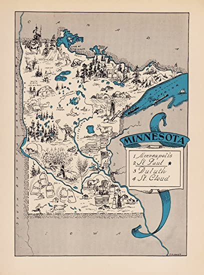 image regarding Printable Maps of Minnesota identified as : Basic Minnesota Nation Map 1930s Blue Cartoon