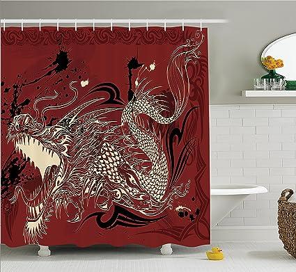 Ambesonne Dragon Shower Curtain Angry Doodle On Grunge Background Japanese Mythology Eastern Ethereal Pattern