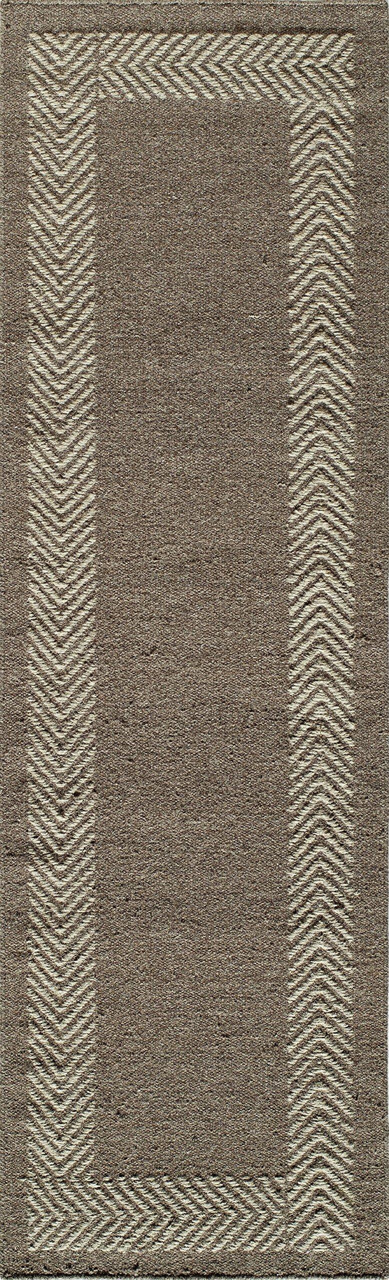 Momeni Rugs MESA0MES-8NAT2380 Mesa Collection, 100% Wool Hand Woven Flatweave Transitional Area Rug, 2'3'' x 8'3'' Runner, Natural Brown