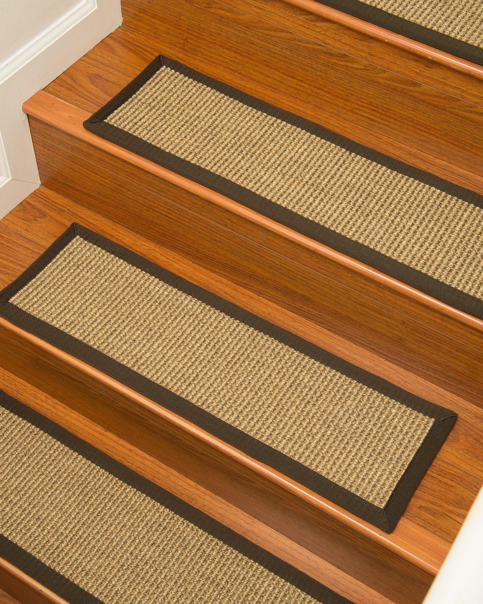 Natural Area Rugs 100% Natural Fiber Tara, Sisal Deep Gold, Handmade Stair Treads Carpet Set of 13 (9''x29'') Fudge Border