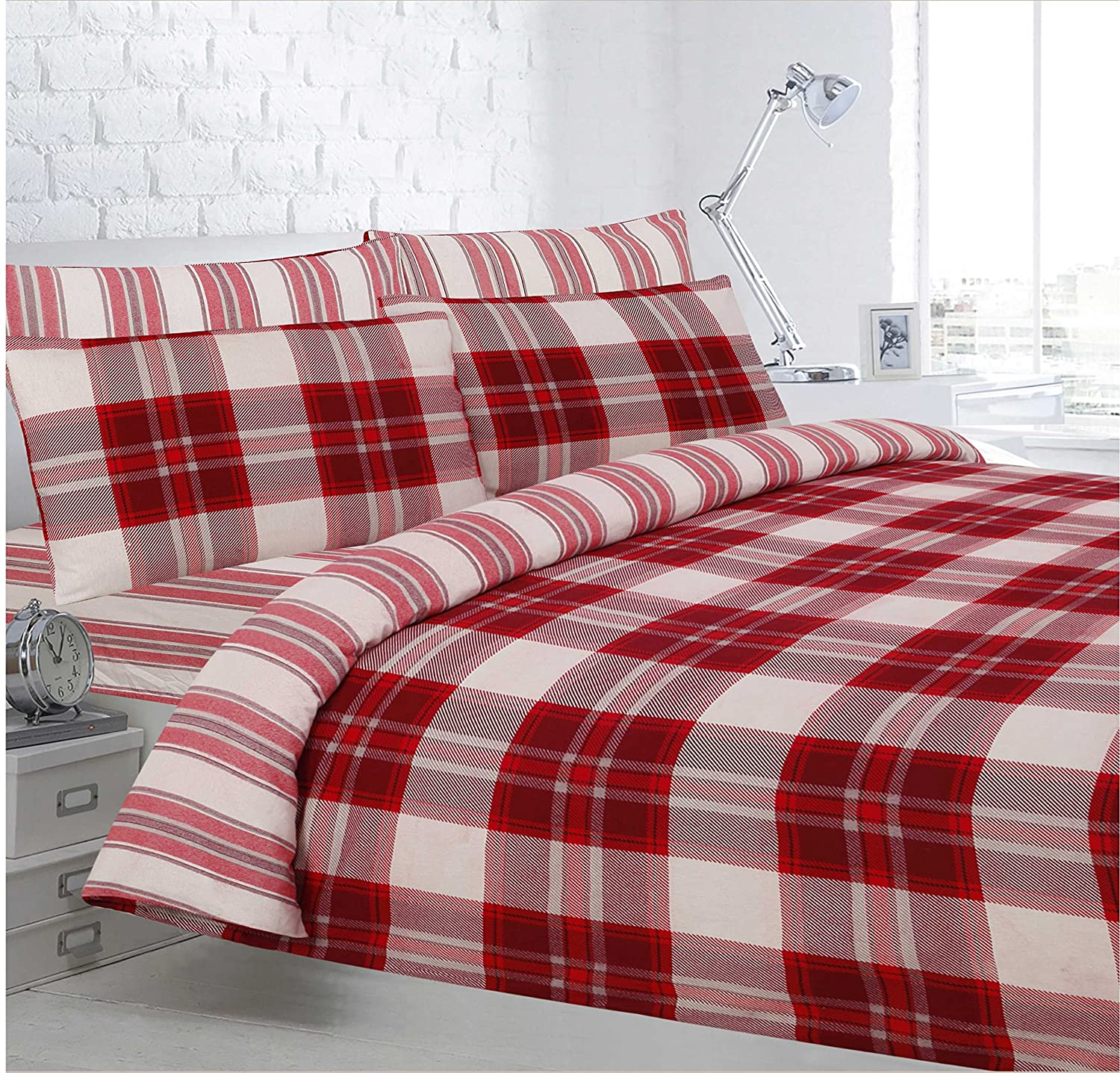 Velosso Home Bedding Store Soft Flannelette 100% Brushed Thermal Cotton Double Bedding Sheet Set Woodbridge Check Red