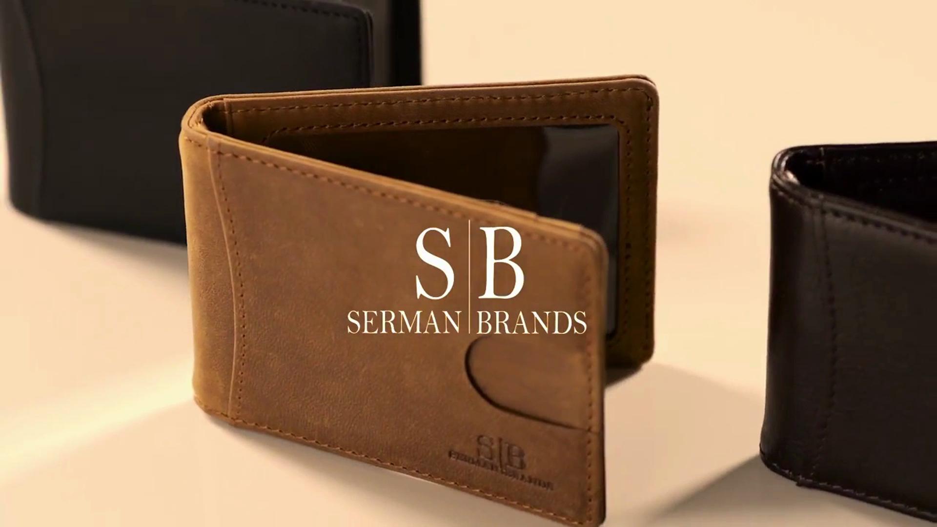 Serman Brands Men/'s Leather Wallet ID Pocket RFID Money Clip Slim Texas Brown