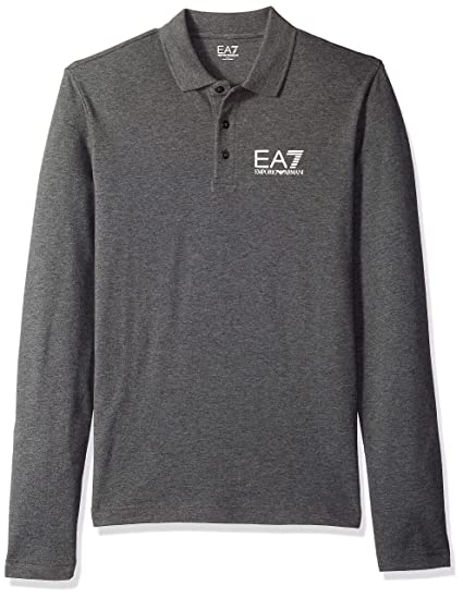 2083f1490073 EA7 Emporio Armani Active Men's Train Core Piquet Long Sleeve Polo Shirt,  Dark Grey Melange, XL: Amazon.co.uk: Clothing