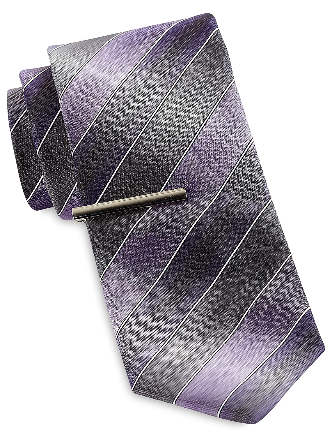 Gold Series by DXL Big and Tall Colorblock Stripe Tie with Tie Bar
