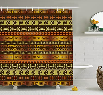 Ambesonne Primitive Shower Curtain Indigenous Geometric Motifs With Ethnic Ornament Traditional Tribal Cloth Fabric