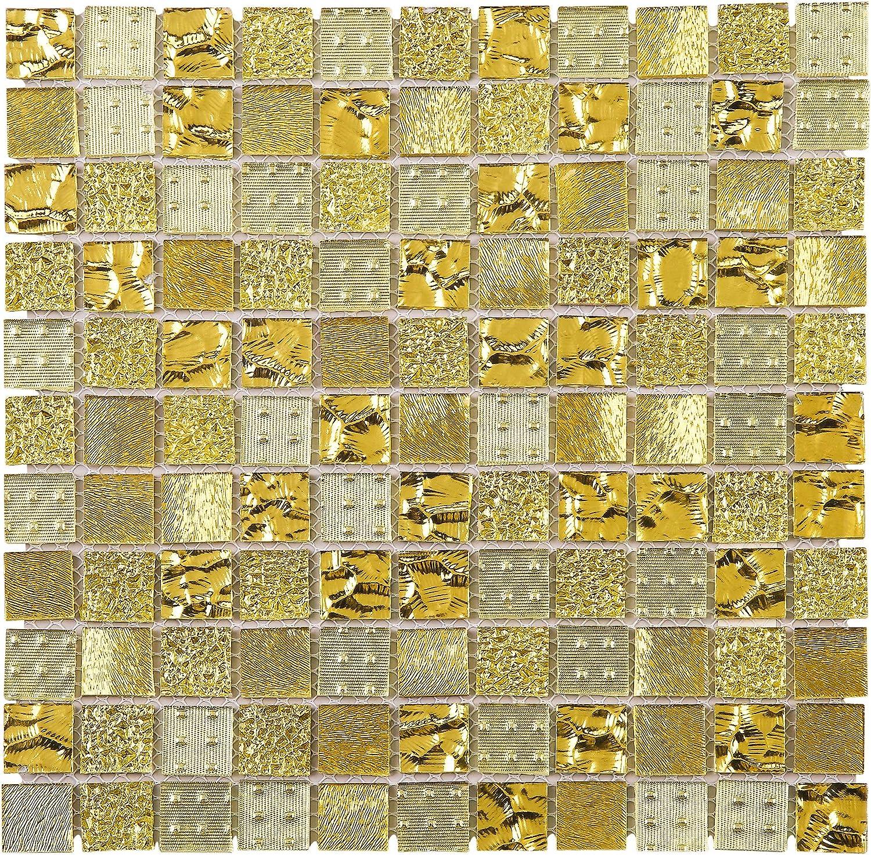 - Amazon.com: TGEMG-02 1x1 Square Gold Glass Mosaic Tile Sheet