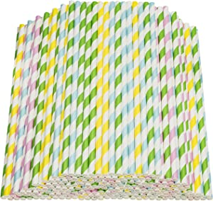 Paper Straws Biodegradable 200 Pack Striped Multi Colored BPA-Free Disposable 8.25