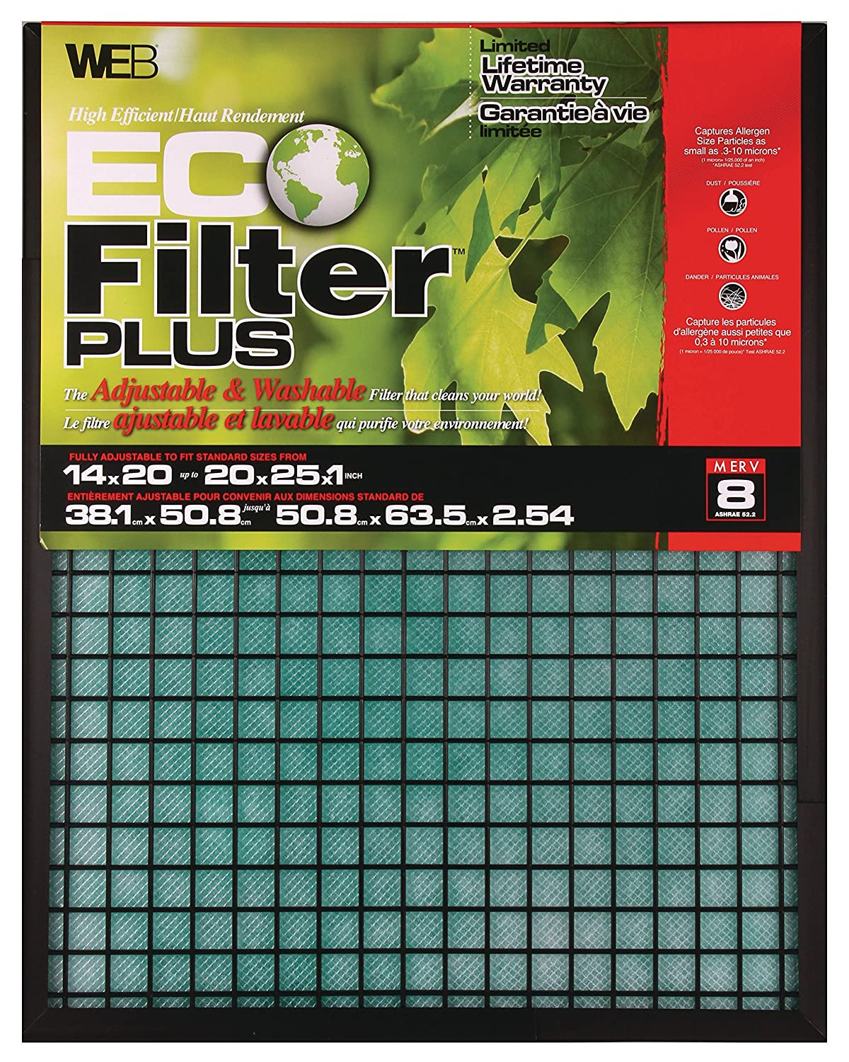 WEB Eco Filter Plus Adjustable Air Filter 14x20x1 up to 20x25x1 WPLUS