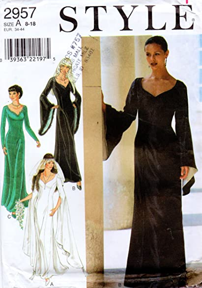 Style Simplicity 2957 Misses Gothic Wedding Prom Evening Dress Sewing Pattern Size 8