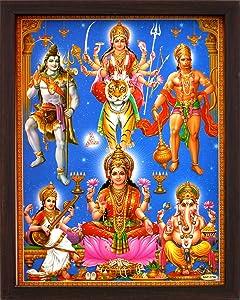 HandicraftStore Lakshmi other Shiva, Ganesha, Vishnu, Narad. A Poster painting with frame for Home Décor