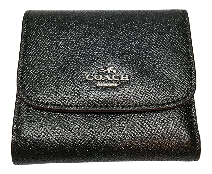 Coach Small Wallet In Glitter Crossgrain Leather Black F15622 At