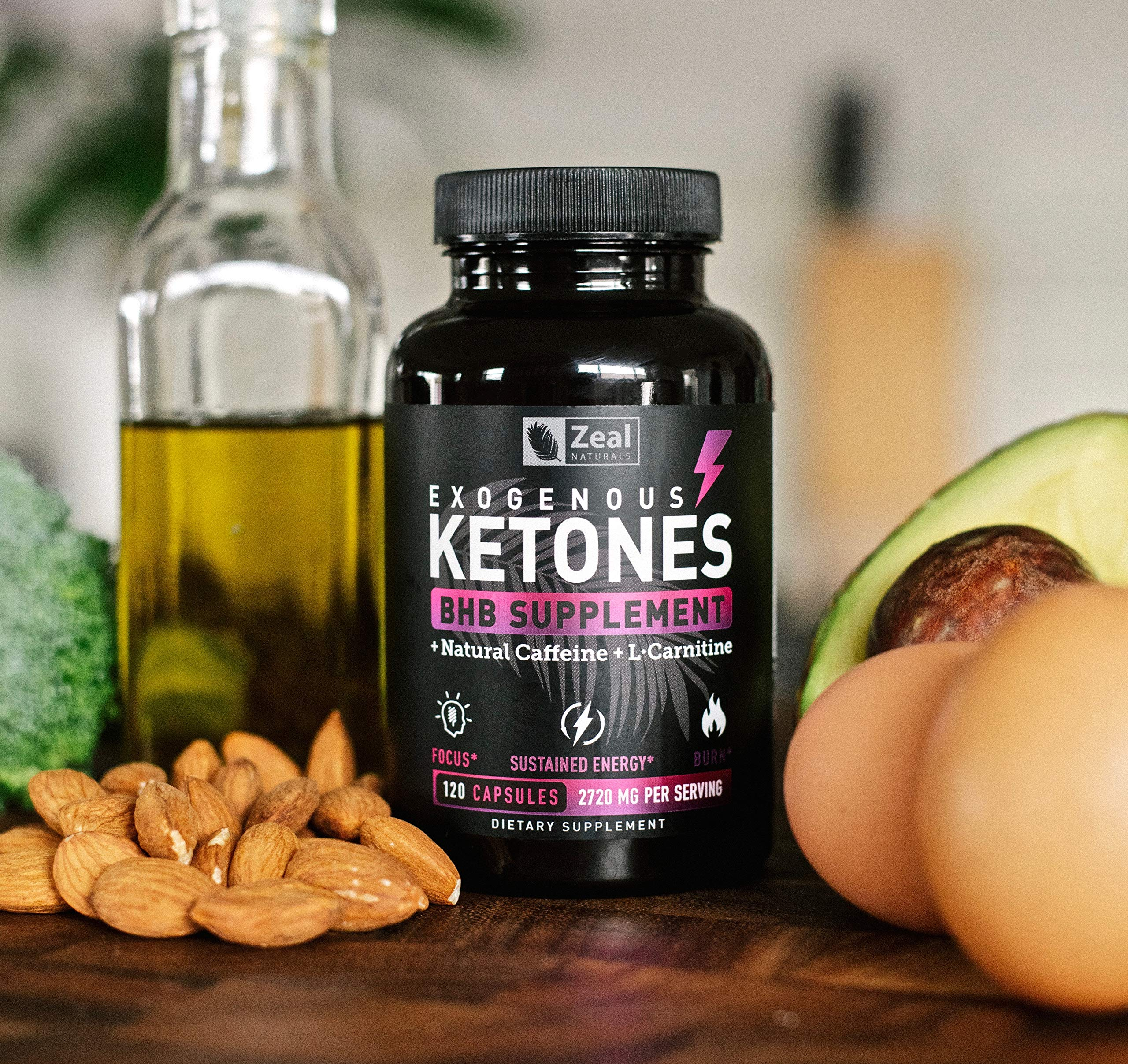 Keto BHB Exogenous Ketones Pills (2720mg | 120 Capsules) Keto Pills w. goBHB Salts, Natural Caffeine & L-Carnitine - Keto BHB Oil Capsules Beta Hydroxybutyrate for Weight Loss Keto Vitamins Keto Salts by Zeal Naturals (Image #8)
