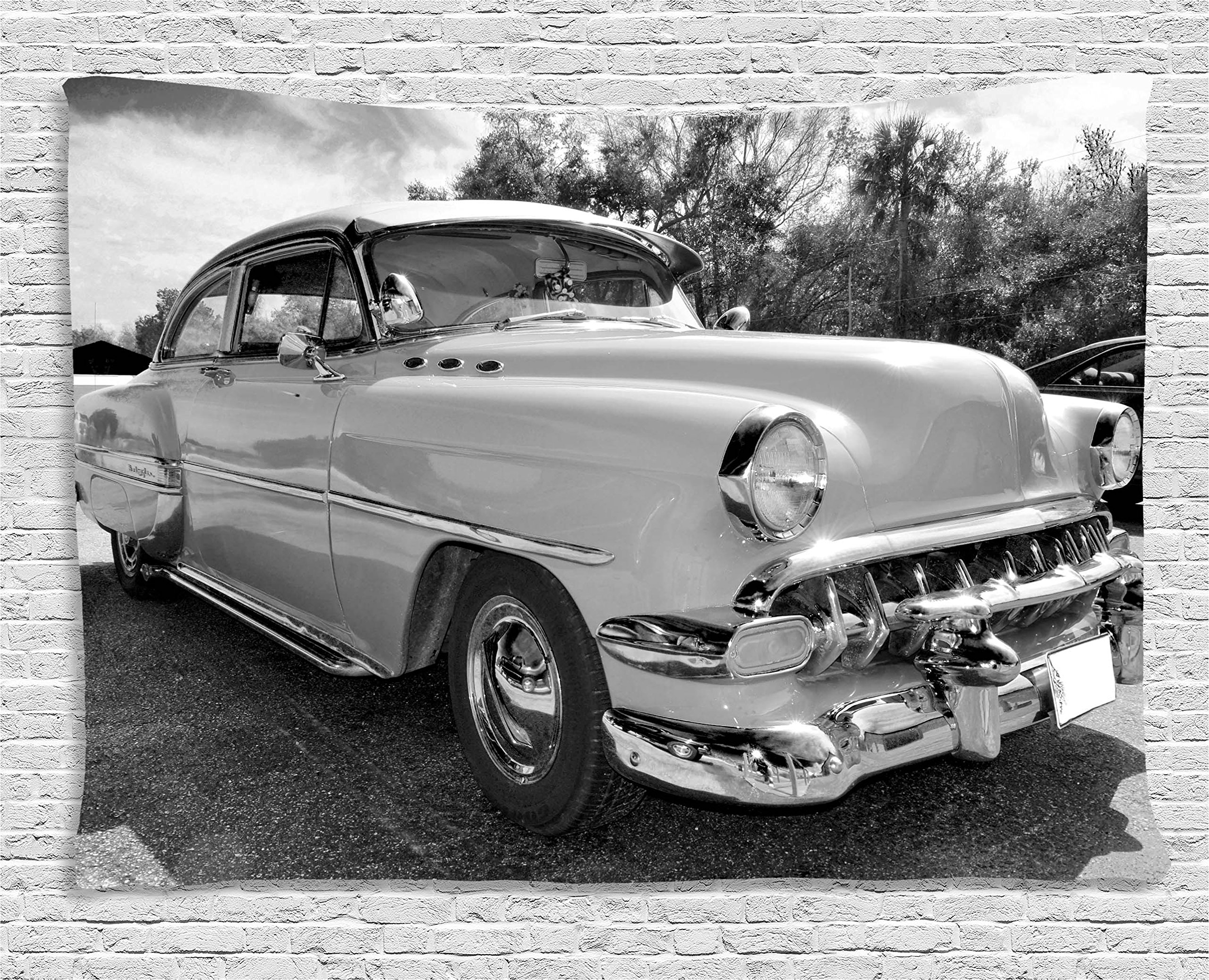 Ambesonne Vintage Tapestry, 50s 60s Retro Classic Pin up Style Cars in Hollywood Movies Image Artwork, Wall Hanging for Bedroom Living Room Dorm, 80WX60L inches, Black White and Gray