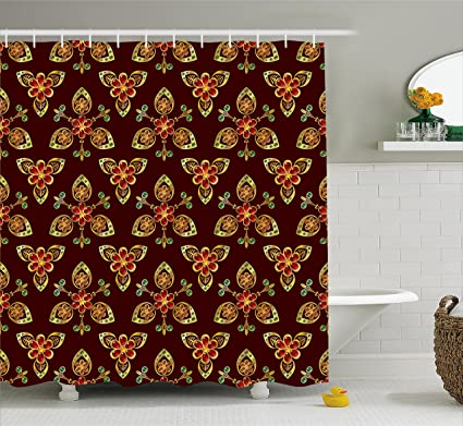 Amazon.com: Ambesonne Antique Shower Curtain, Classical Floral ...