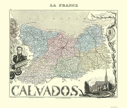 Calvados France Map.Amazon Com Old France Map Calvados Region Migeon 1869 23 X
