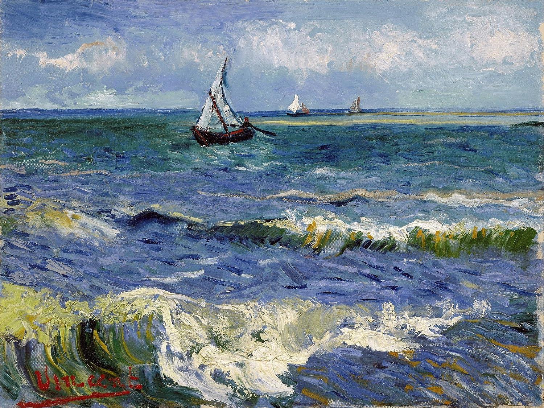 sea boat by Vincent van Gogh Tile Mural Kitchen Backsplash Marble ...