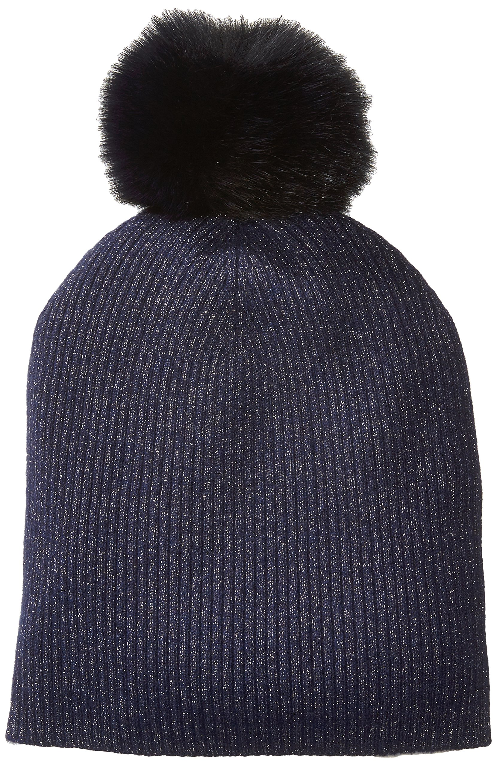 Sofia Cashmere Women's Cashmere Fur Pom Hat-Slouchy, Gold Lurex/Navy, ONE