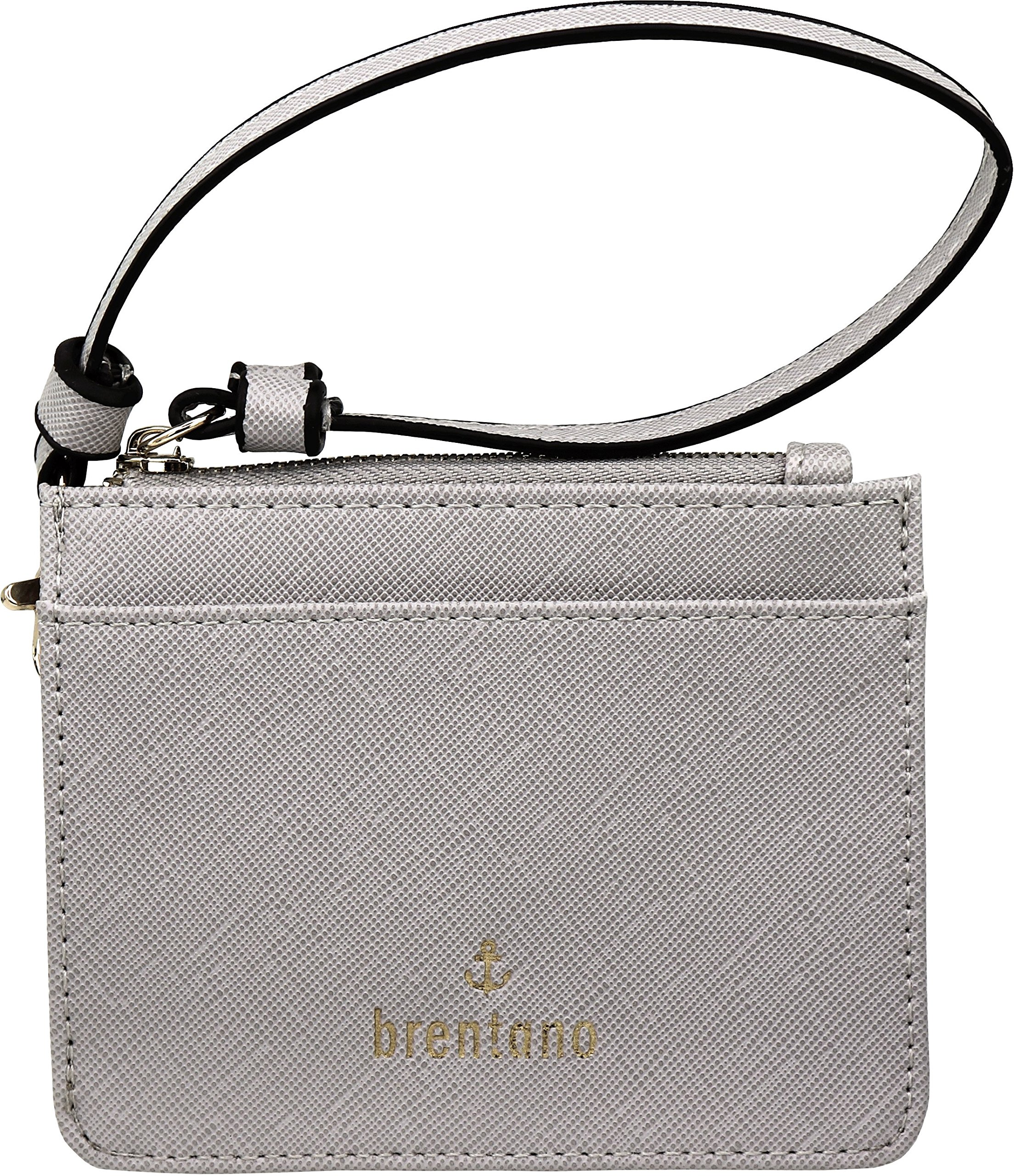 B BRENTANO Vegan Saffiano Leather Slim ID Credit Card Case with Wristlet Strap (Gray)