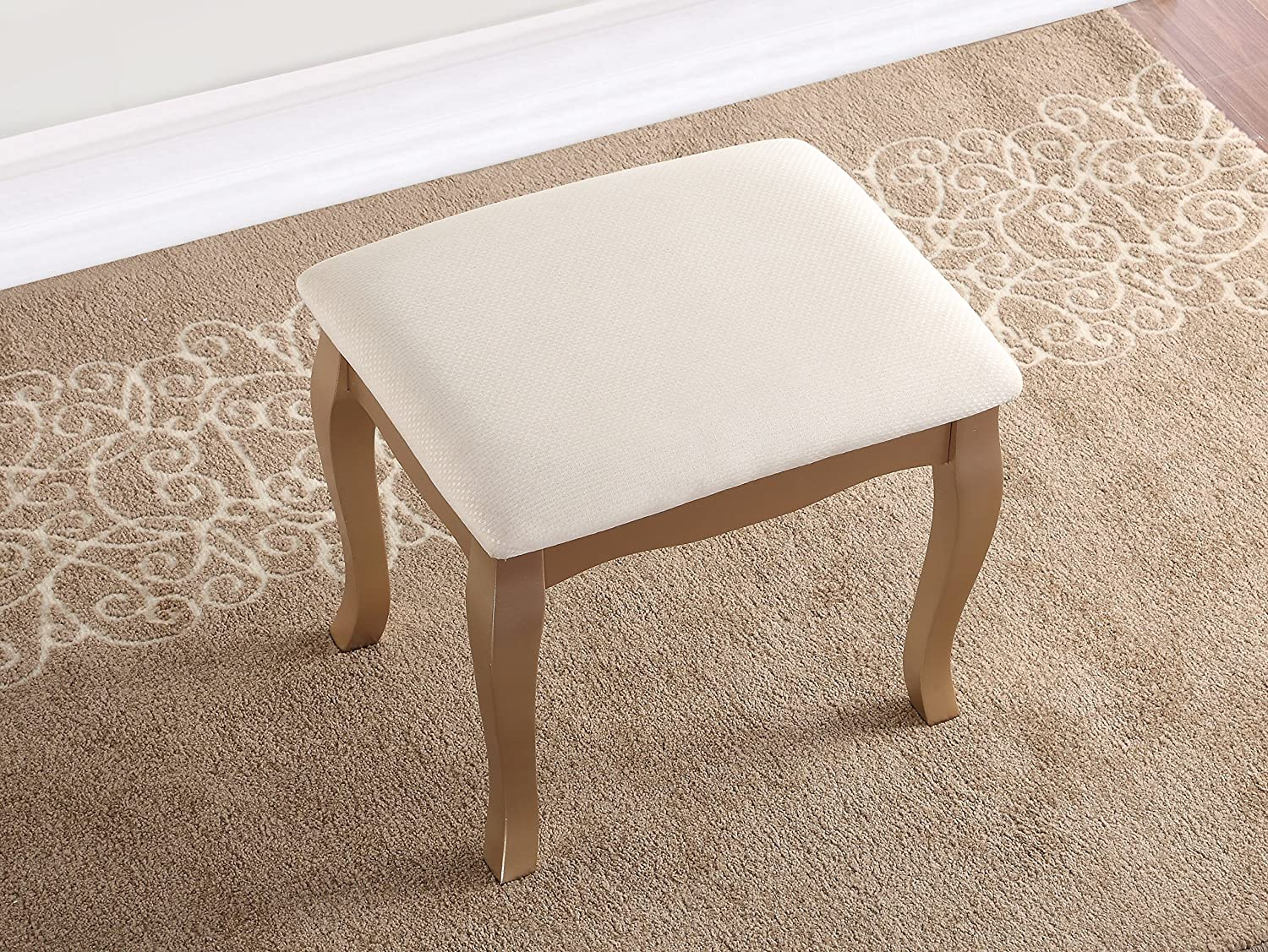Amazon: Roundhill Furniture 3418GL Ashley Wood Makeup Vanity Table And  Stool Set, Gold: Kitchen & Dining