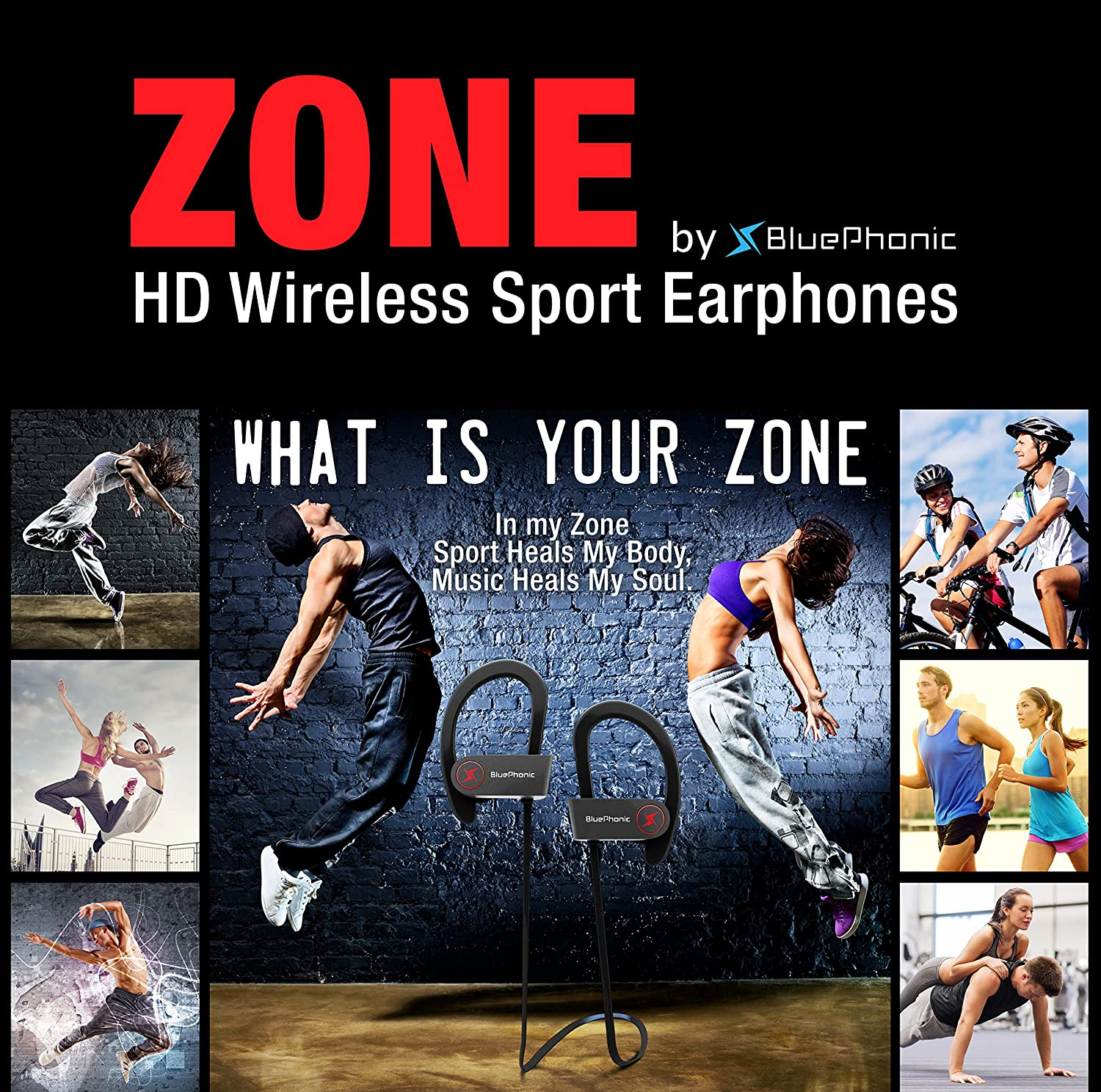 Bluephonic Wireless Sport Bluetooth Headphones – Hd Beats Sound Quality – Sweat Proof Stable Fit in Ear Workout Earbuds – Ergonomic Running Earphones – Noise Cancelling Microphone Black