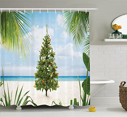 Ambesonne Christmas Shower Curtain Tree With Tinsel And Ornaments Tropical Island Sandy Beach Party Theme