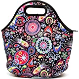 Travel Neoprene Lunch Bag Insulated Cooler Lunch Bags for Women Waterproof Zipper Picnic Lunch Tote - Black Flower
