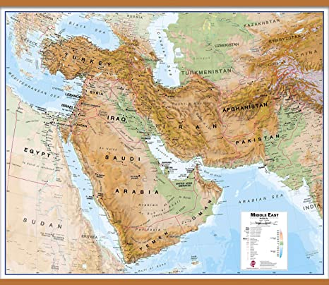 Amazon.com : Maps International Huge Physical Middle East ... on outline map of il, topographic map of il, blank map of il, color map of il,