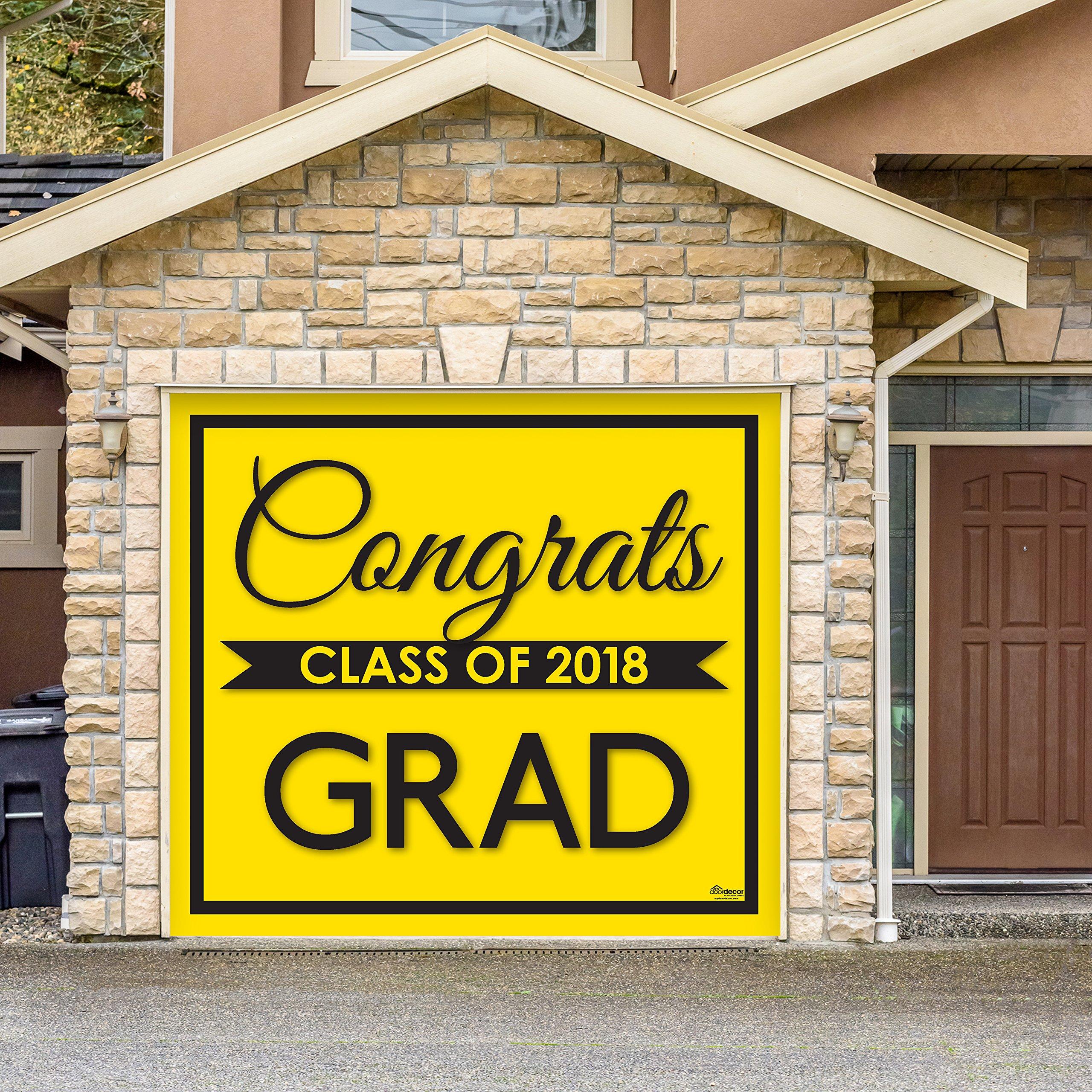 Victory Corps Class Banner Yellow - Outdoor Graduation Garage Door Banner Mural Sign Décor 7'x 8' Car Garage - The Original Holiday Garage Door Banner Decor
