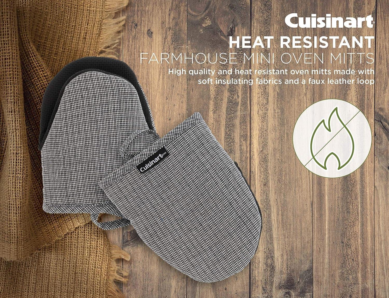 2pk- Heat Resistant Kitchen Gloves to Protect Hands Bakeware Cuisinart Farmhouse Neoprene Mini Oven Mitts Denim Pin Stripe Non-Slip Grip- Ideal Set for Handling Hot Cookware