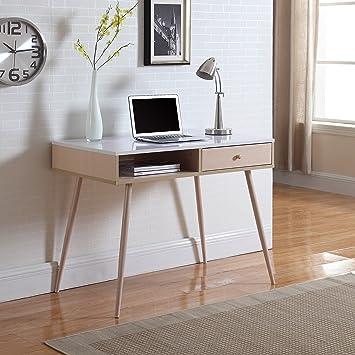 small modern secretary desk mid century work computer white plans danish