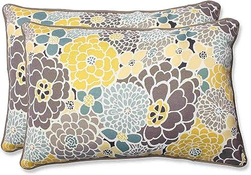 Pillow Perfect Outdoor Indoor Lois Vapor Oversized Lumbar Pillows, 24.5 x 16.5 , Blue, 2 Pack