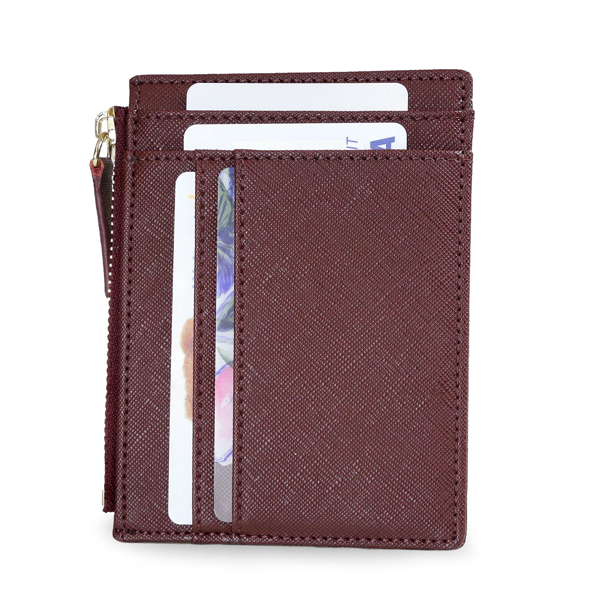 SERMAN BRANDS - Womens Wallet Rfid Blocking Credit Card Holder Slim Minimalist Wristlet Card Case Wallet with Zipper Pocket - Removable Wristlet Strap (Burgandy Ch)