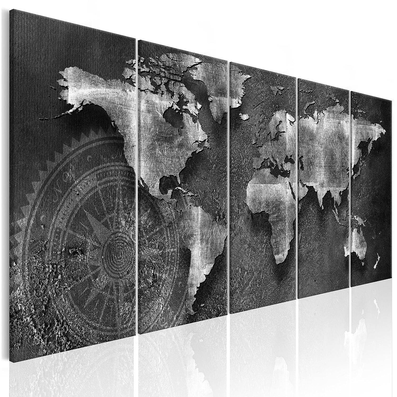 Decomonkey Akustikbild Pinnwand Weltkarte 200x80 5 Teilig Bilder Leinwandbilder Wandbilder als Korktafel XXL Korkwand nutzbar Schallschutz Akustikdämmung leise WanddekoWelt Karte Kontinente Landkarte