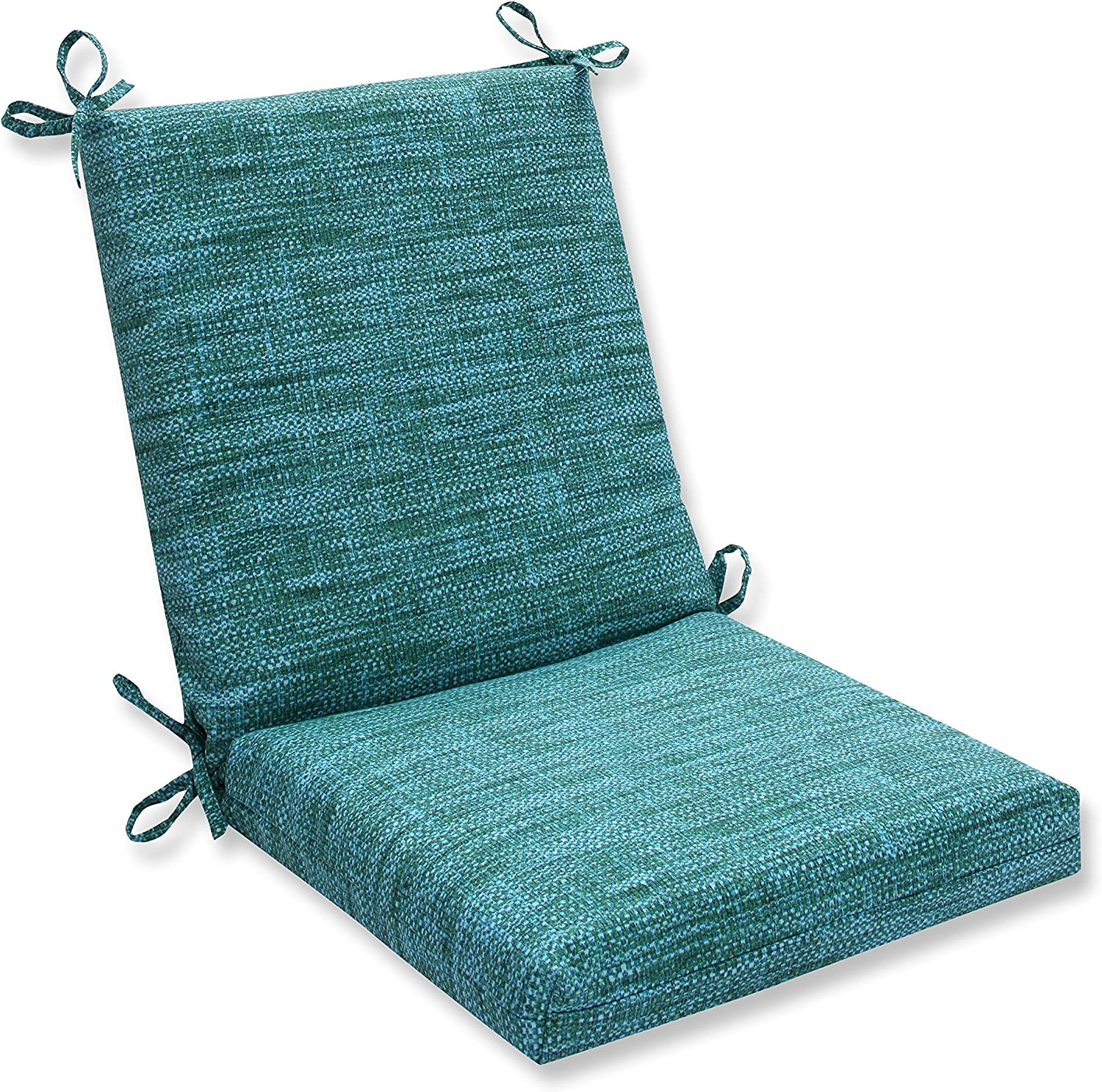 "Pillow Perfect Outdoor/Indoor Remi Lagoon Square Corner Chair Cushion, 36.5"" x 18"", Blue"