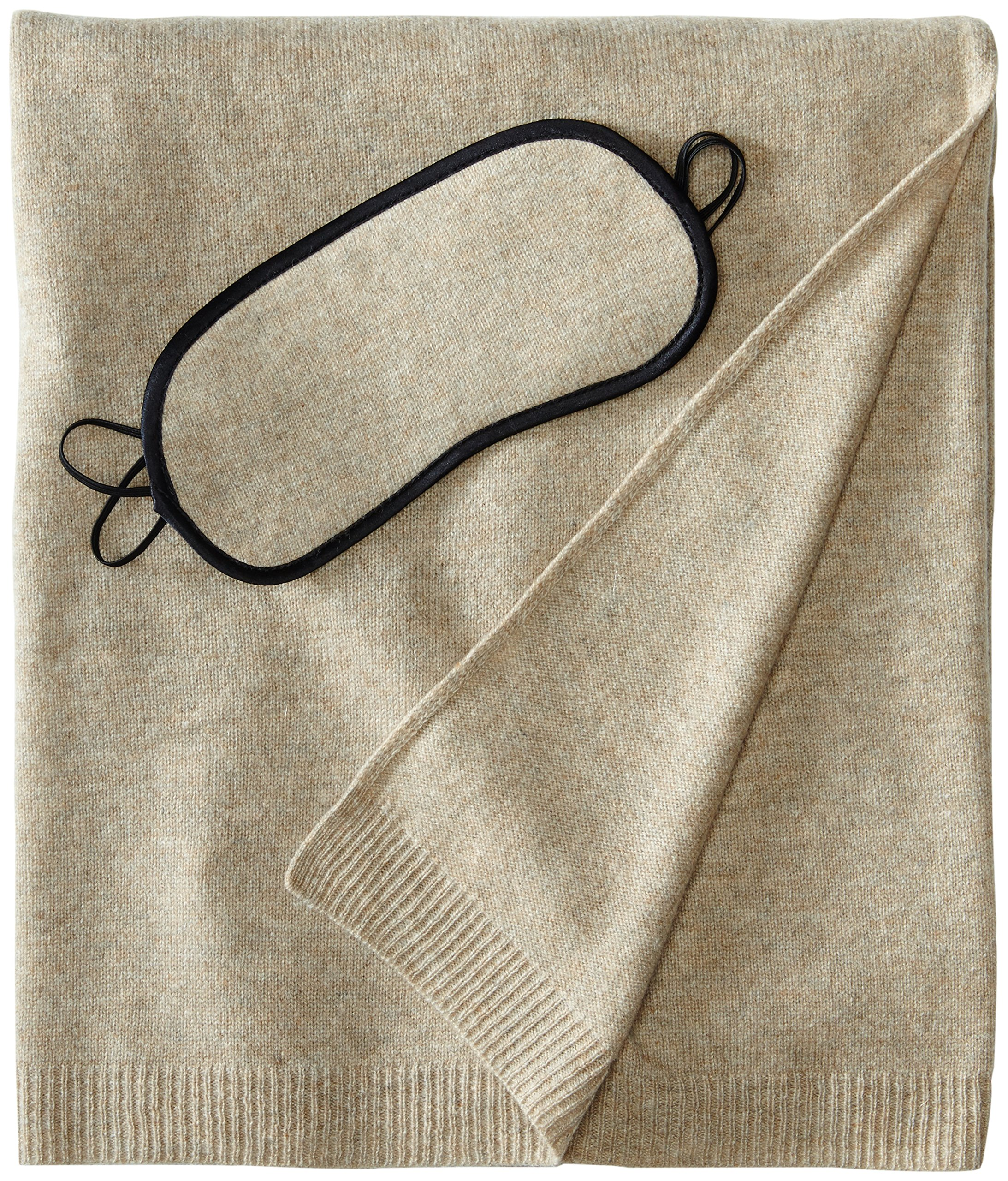 Sofia Cashmere 100% Cashmere Cozy Travel Set with Blanket, Eye Mask, and Bag, Heather Taupe, One Size