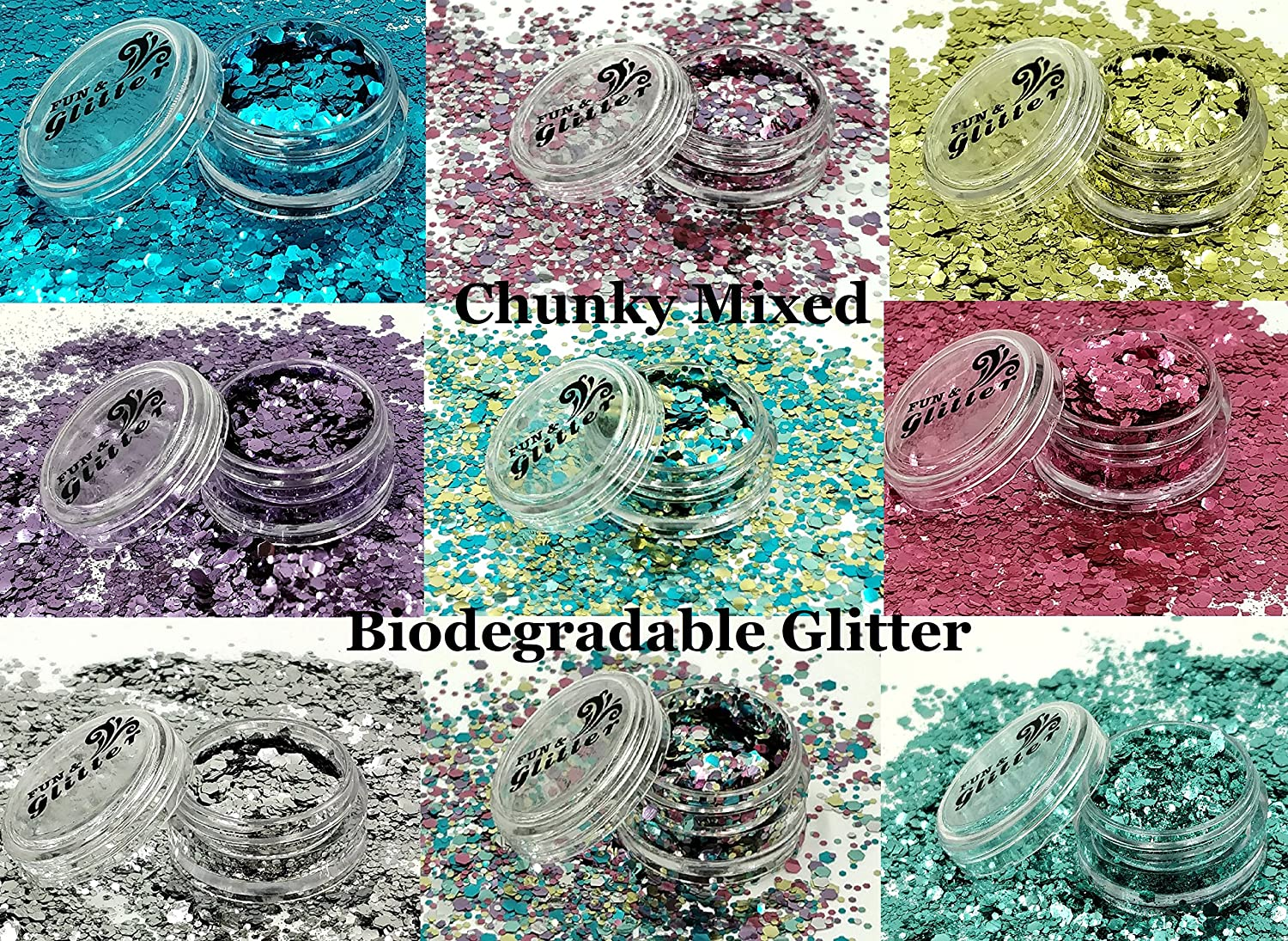 Biodegradable GLITTER Festival Mix (10ml Pot) – Loose Glitter for Festival Faces, Party Faces, Sparkling Glitter Hair, Nails and Body Make Up (Mermaid Vibes BG07) Fun And Glitter Ltd
