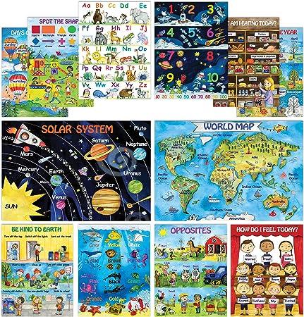 12 Carteles Educativos Para Niños Preescolares Y Niños Pequeños 13 X 18 Carteles Grandes De Pared Preescolar Para Enseñanza En Casa Aprendizaje A Distancia Guardería Y Guardería Cartel